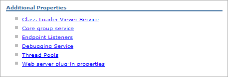 Debugging Service link in Additional Properties section