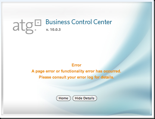 Business Control Center Error